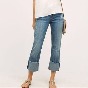 Pilcro Hyphen Cuffed Mid Rise Jeans Anthropologie
